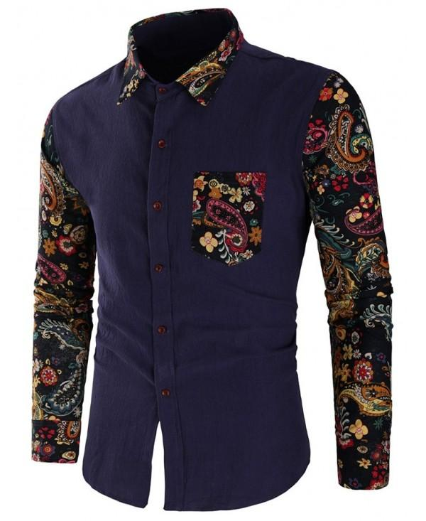 Patchwork Paisley Print Button Up Shirt