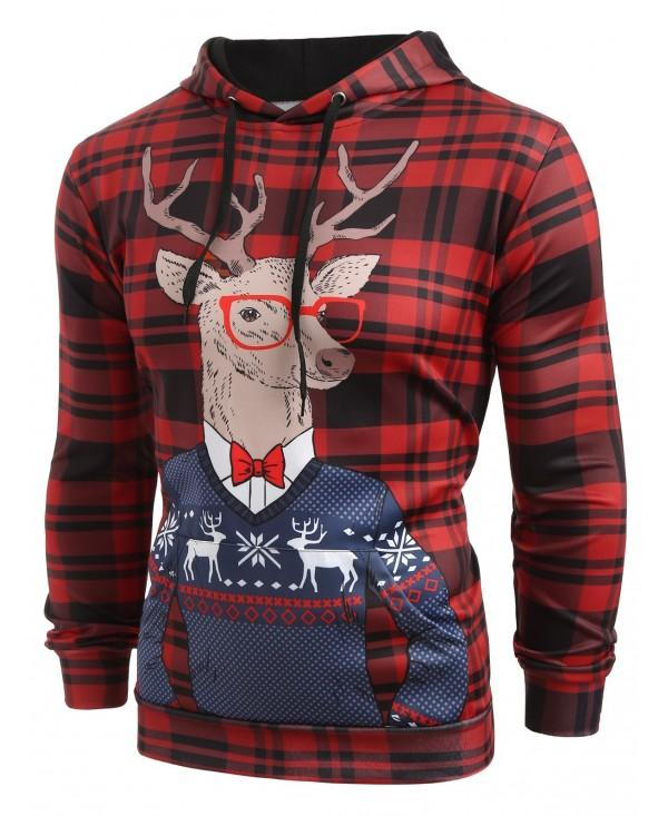Plaid Christmas Deer Printed Casual Hoodie
