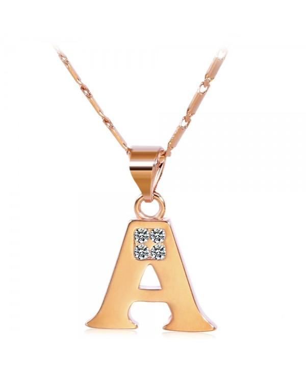 Chain Rhinestones 26 English Letters Shape Pendant Necklace