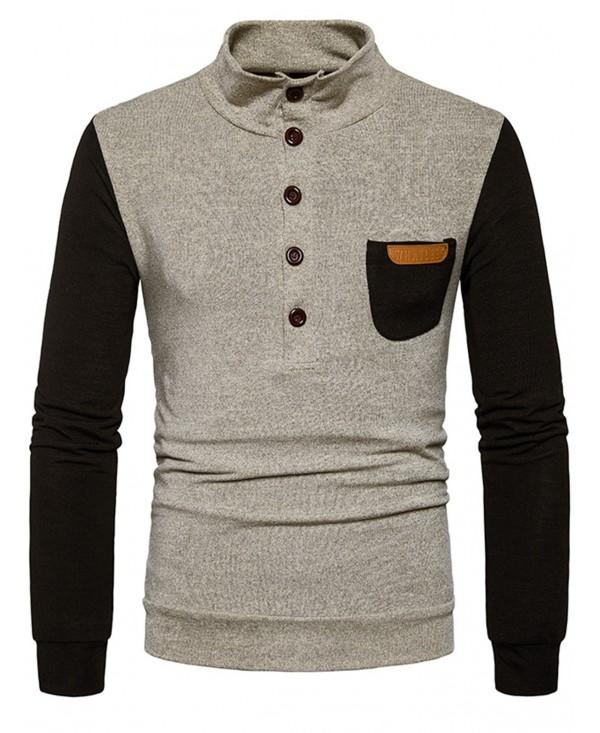 Stand Collar Buttons Color Block Pocket Sweater