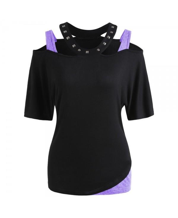 Shoulder Cut Half Sleeve T-shirt with Rivet