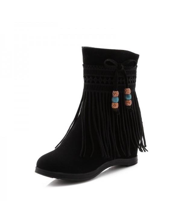 Increased Tassel Bow Knot National Wind Warmth Medium Tube Boots