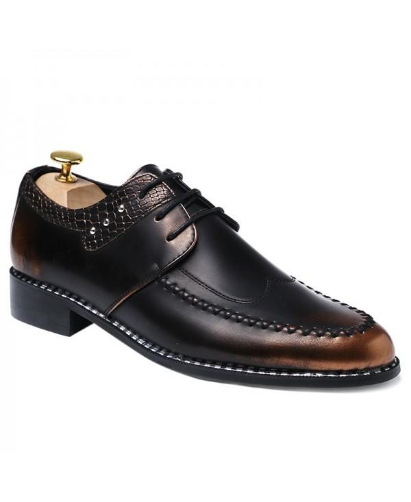 PU Leather Embossed Panel Formal Shoes
