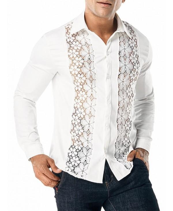 Flower Lace Panel Solid Color Shirt