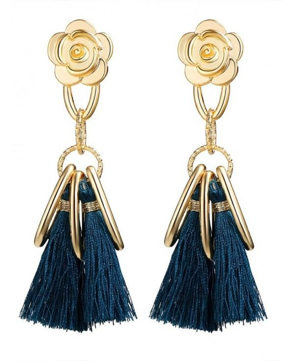 Vintage Alloy Flower Circle Tassel Earrings