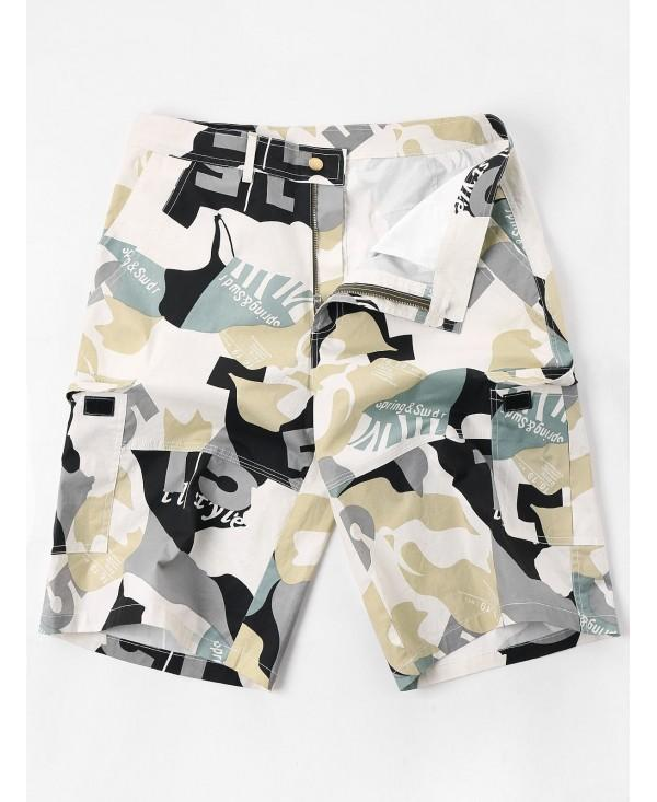 Letter Camo Print Multi-pocket Cargo Shorts