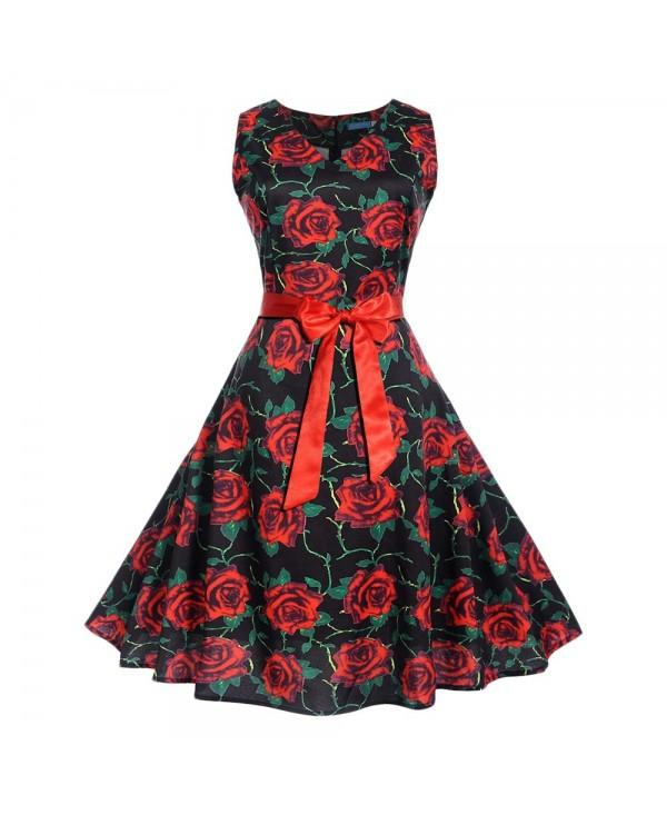 Vintage Rose Print Pin Up Dress