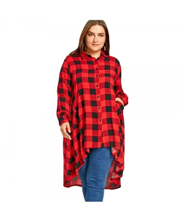 Plus Size Long High Low Tartan Shirt