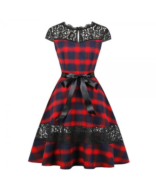 Vintage Lace Panel Plaid Pin Up Dress