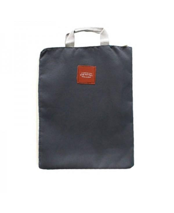 File Bag Zipper Design Cloth Solid Color Office Utility Computer Bag