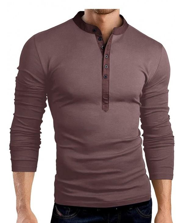 Solid Color Fashionable V-neck Men T-shirt with Long Sleeve