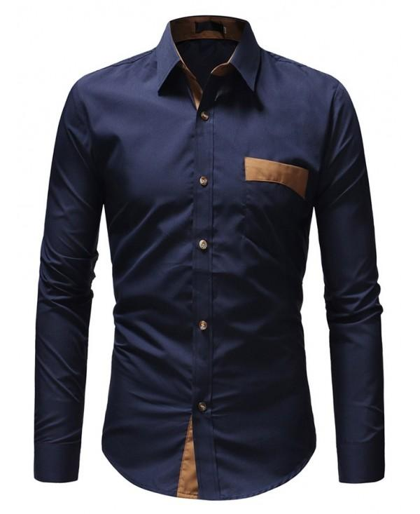 Simple Business Solid Color Long Sleeve Shirt for Men