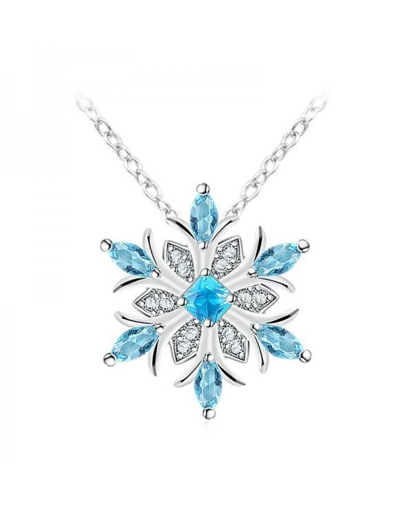 Water Blue Snowflake Diamond Pendant Necklace