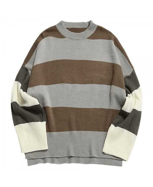 Contrast Stripe Split Hem Pullover Knitted Sweater