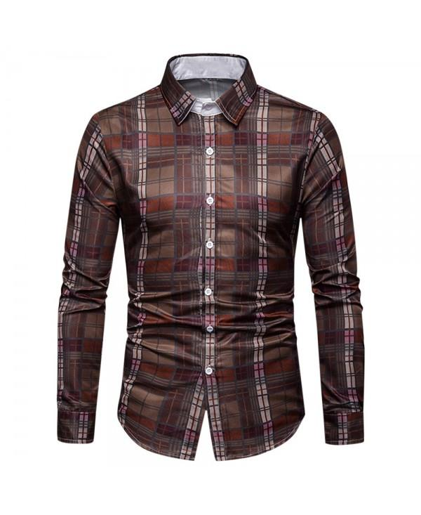 Button Up Turn-down Collar Checkered Print Casual Shirt