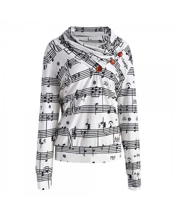 Musical Notes Printed Cowl Neck Sweatshirt