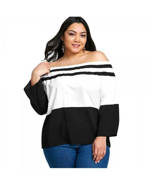 Plus Size Off The Shoulder Striped T-shirt