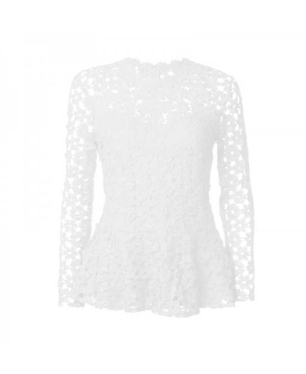 Women Long Sleeve Round Collar Solid Color Lace Top