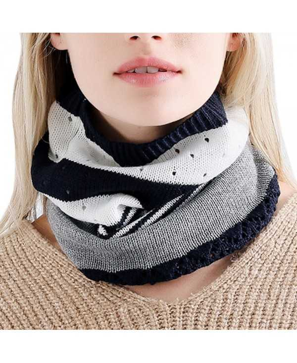2 in 1 Patchwork Women Skullies Beanies Warm Cap Female Knitted Hat Bib