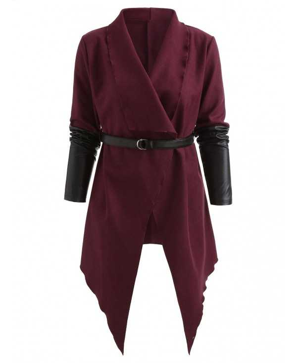 Contrast Colo Asymmetrical Belted Long Coat