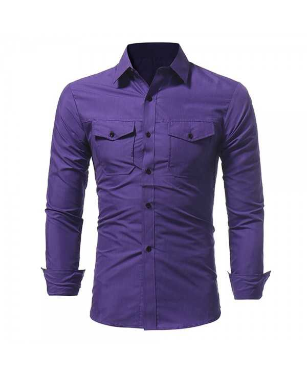 New Classic Double Sack Double Cover Men's Casual Slim Long Sleeve Shirt