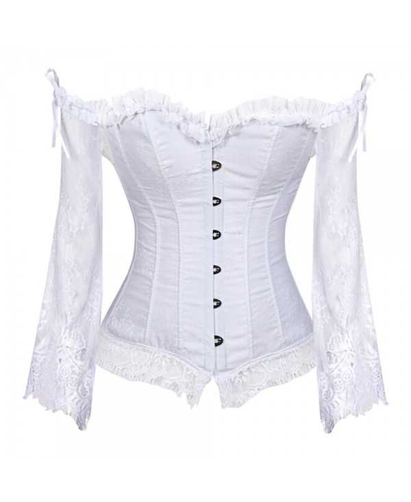 Lace Insert Flare Sleeve Corset