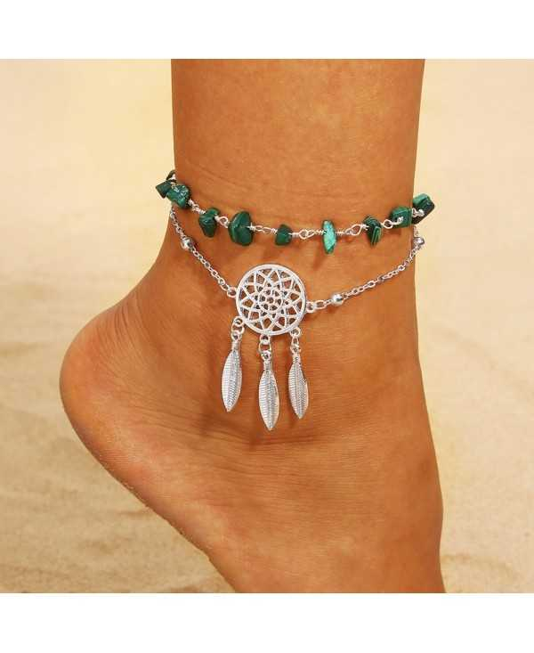 Hollow Dreamcatcher Irregular Turquoise Anklet Feather Pendant