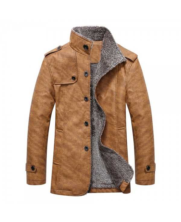 Epaulet Design Stand Collar Single Breasted Coat