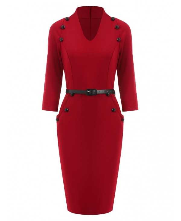 V Neck Buttoned Sheath Dress