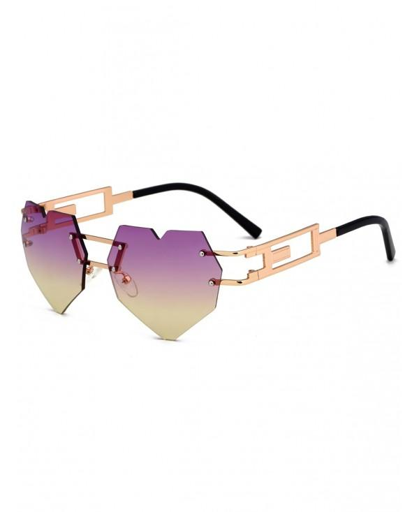 Anti UV Love Heart Embellished Rimless Sunglasses