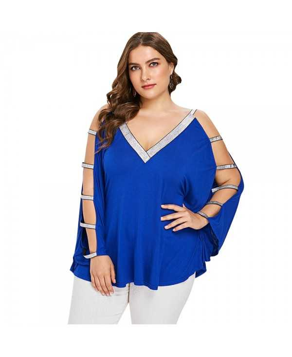 Plus Size Glittery V Neck Batwing Sleeve T-shirt