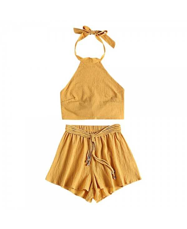 Halter Neck Backless Tied Strap Crop Top Solid Color High Waist Shorts Women Two-piece Suit