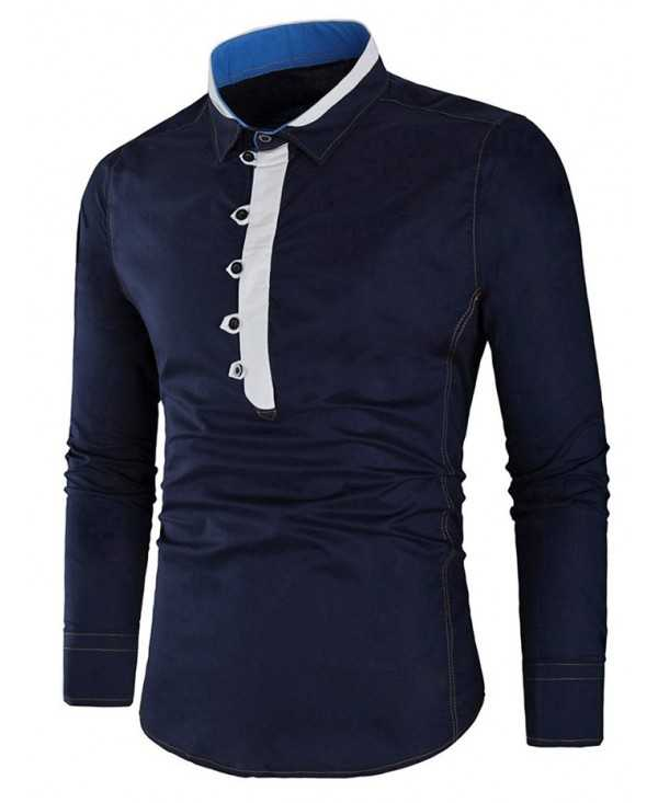 Contrast Color Half Button Shirt