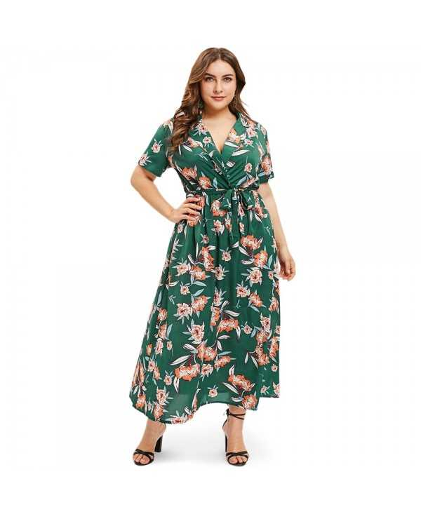 Lapel Neck Floral Print Plus Size A Line Dress