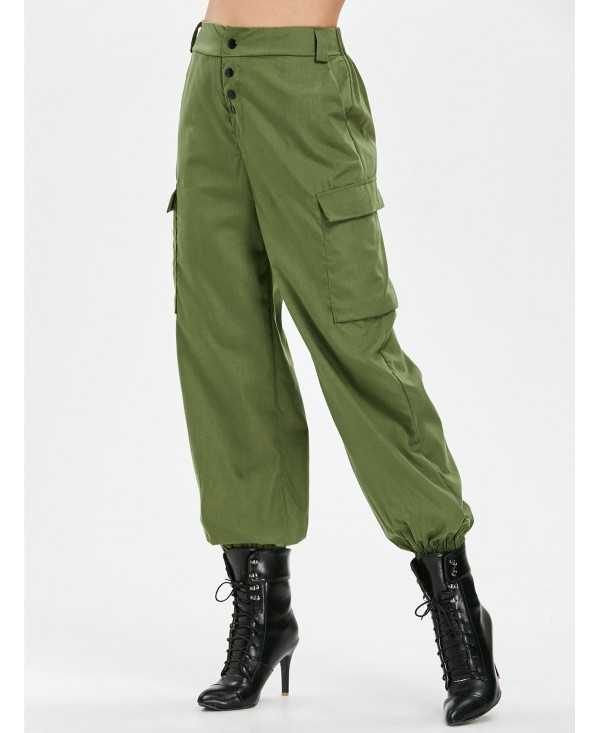 Elastic Waist Side Pockets Pants