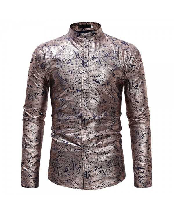 Luxury Gold Gilding Printed Stand Collar Long Sleeve Casual Men Shirt