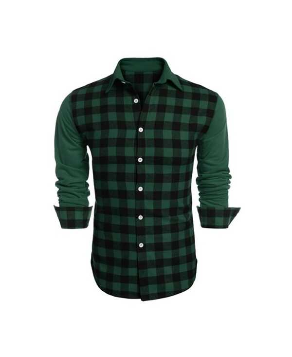 Check Panel Long Sleeve Shirt