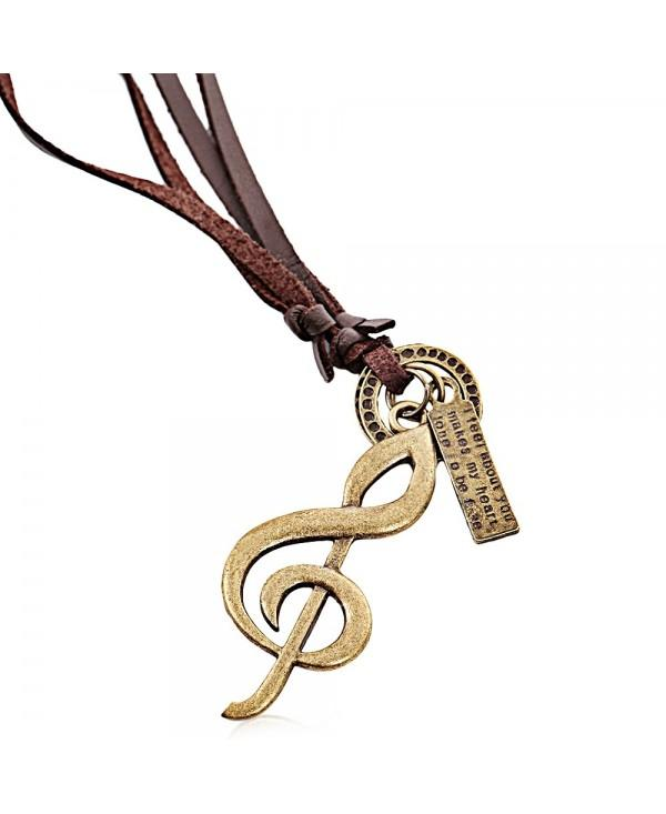 Casual Note Pattern Adjustable Unisex Leather Necklace