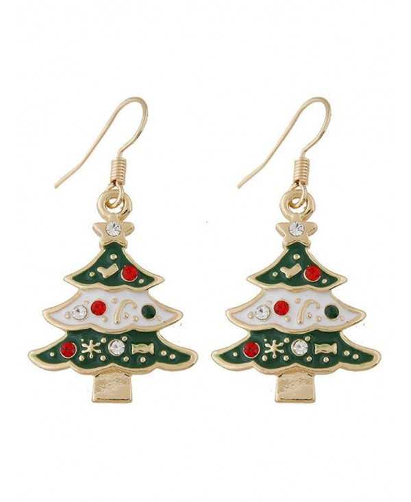 Rhinestone Star Chrismas Tree Hook Earrings