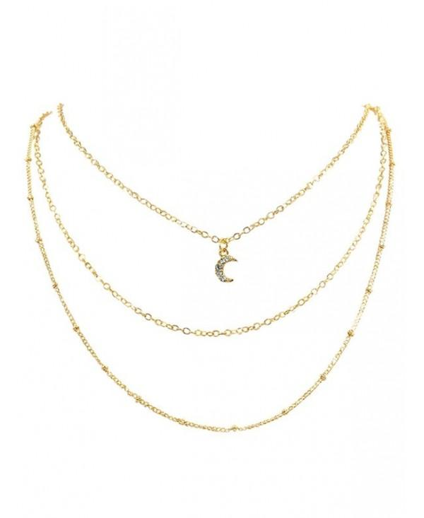 Rhinestone Moon Multi Layers Alloy Necklace