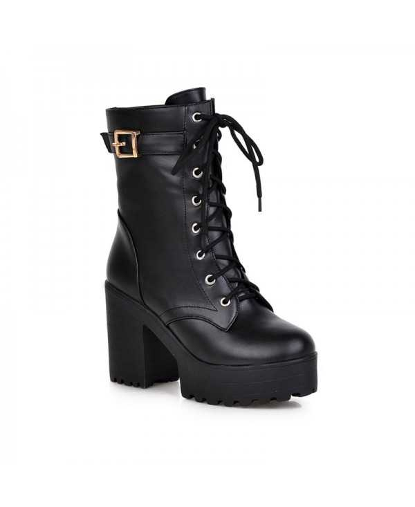 Lace Up Platform Chunky Heel Boots For Women