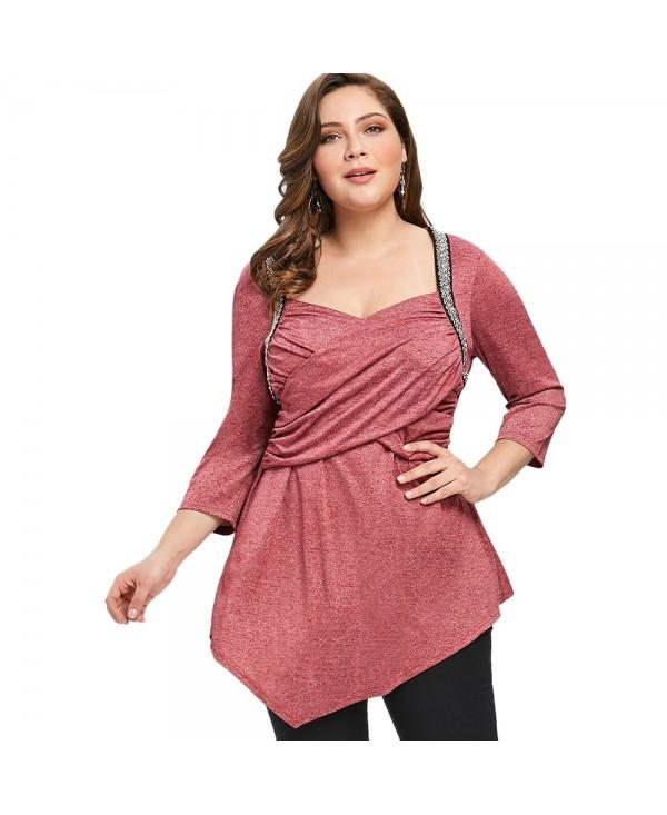 Plus Size Crossover Front Asymmetric T-shirt
