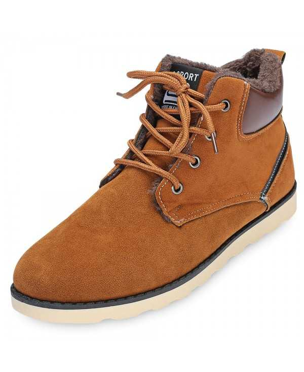 Stylish Round Toe Lace-up Fleece Flat Heel Men Ankle Boots