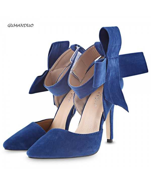 GUMANDUO Elegant Oversize Bowknot Magic Tape Ladies High Heel Shoes
