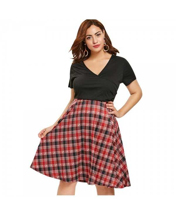 Tartan Print Plus Size Surplice Neck Fit and Flare Dress