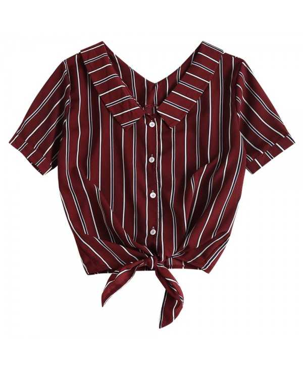 Fold Over Tie Front Striped Casual Shirt