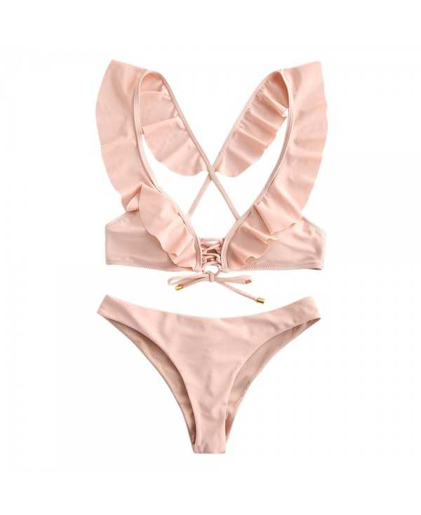 Ruffled Lace Up Padded Bikini Set
