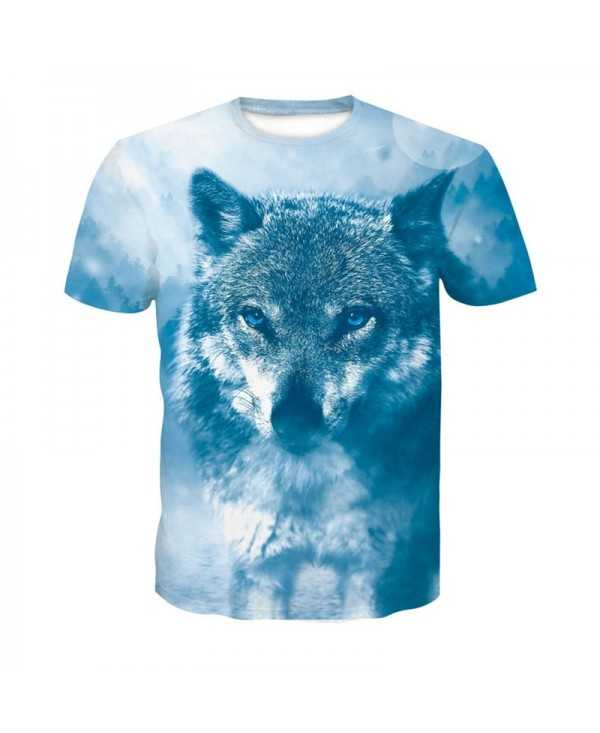 Blue Snow Wolf 3D Print Men's Casual Short Sleeve Graphic T-shirt