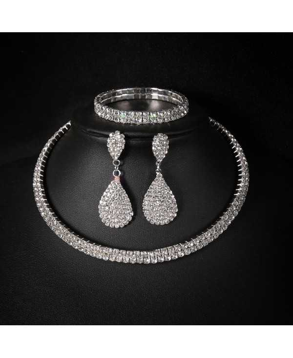 Personalized Full Diamond 3 Layer Collar Set Necklace Drop Earring Bracelet