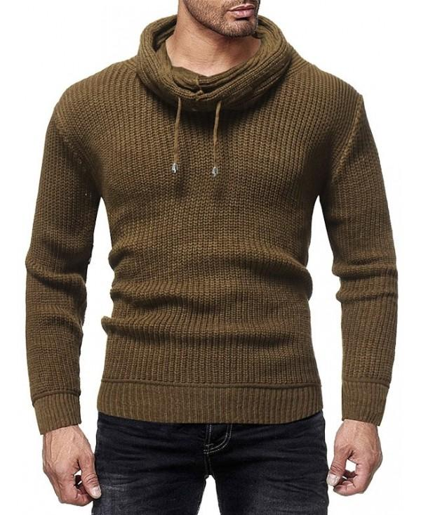 Solid Color Turtle Collar Drawstring Sweater